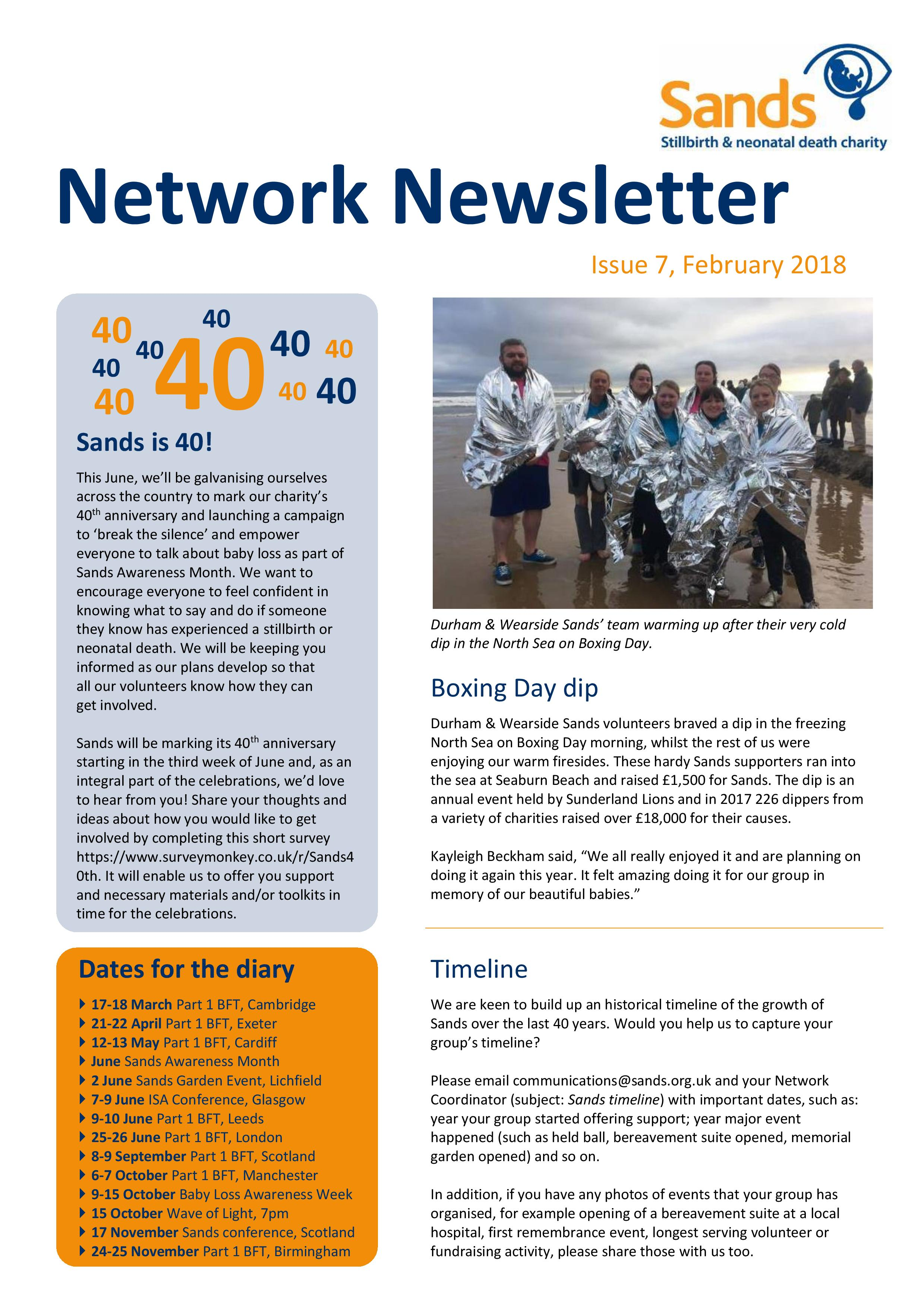 Sands, Network Newsletter Issue 7 - Feb 2018