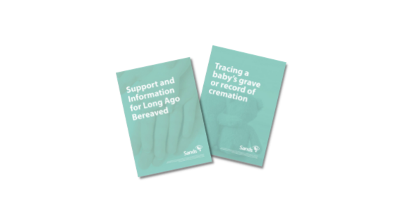 Support for long-ago bereaved and information on tracing babies' graves and cremation records banner with booklet covers