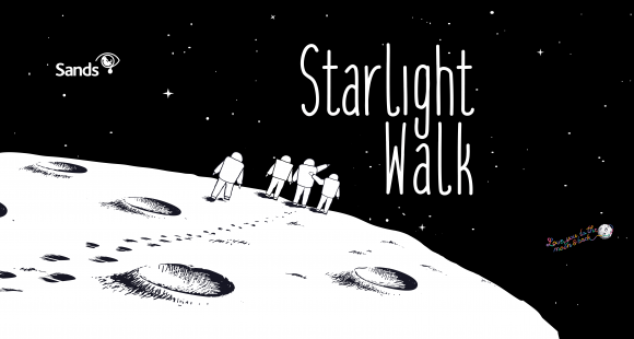 4 Astronauts linking arms on the moon below Starlight Walk in the sky