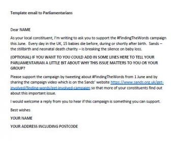 Template email to Parliamentarians