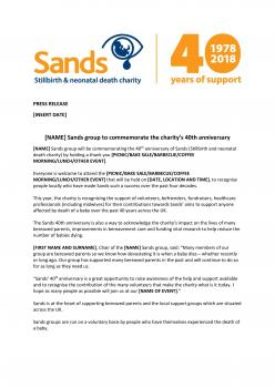 Press release template for groups - Sands 40th anniversary