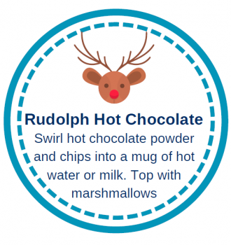Rudolph Hot Chocolate Labels