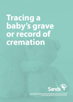 Tracing a baby's grave or record of cremation booklet cover